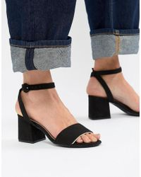 Pull&Bear - Block Heel Two Part Mid Sandal In Black - Lyst