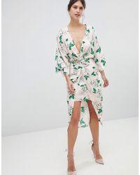 ASOS - Pretty Floral Satin Kimono Midi Dress - Lyst
