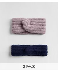 ASOS - 2 Pack Fluffy Knit Headband In Lilac And Navy - Lyst