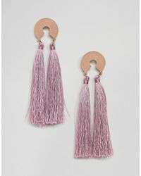 ASOS - Design Circle Disc And Tassel Earrings - Lyst