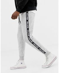 Hollister - Side Taped Logo Slim Fit Cuffed jogger In Grey Marl - Lyst
