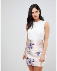 AX Paris - Dress With Contrast Floral Skirt - Lyst