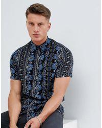 ASOS DESIGN - Regular Fit Crinkle Paisley Shirt In Blue - Lyst