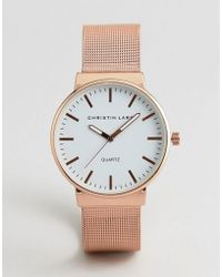 Christin Lars - Mesh Strap Watch In Gold With White Dial - Lyst