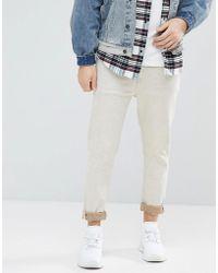 ASOS - Asos Tapered Jeans In Ecru Nep - Lyst