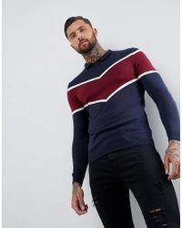 ASOS - Asos Knitted Polo With Chevron Design - Lyst