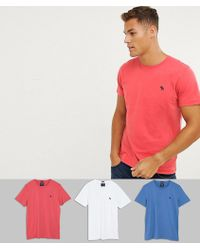 4c7bb41d Abercrombie & Fitch - 3 Pack Crew Neck T-shirt Slim Fit Moose Logo In