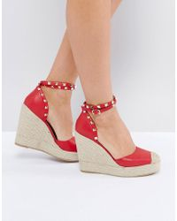 Truffle Collection - Heeled Espadrille With Studded Ankle Strap - Lyst