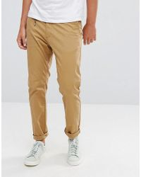 Stradivarius - Skinny Chino In Tan - Lyst