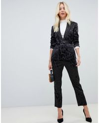 Fashion Union - Slim Trousers In Satin Leopard Co-ord - Lyst