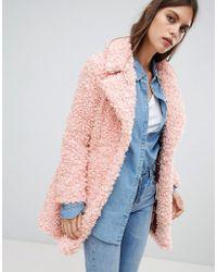 River Island - Teddy Coat In Pink - Lyst