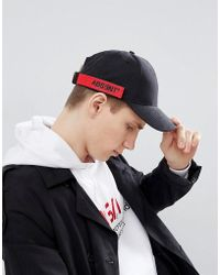ASOS - Design Baseball Cap In Black Peached Texture With Taping Detail - Lyst