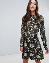 Y.A.S - High Neck Printed Midi Dress - Lyst