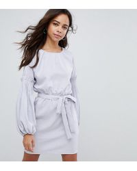 Lost Ink - Tie Waist Dress With Extreme Sleeve - Lyst