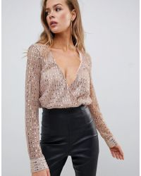 Missguided - Sequin Plunge Long Sleeve Body In Gold - Lyst