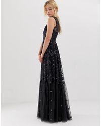 Needle & Thread - Embroidered Lace Maxi Gown With High Neck In Graphite - Lyst