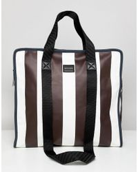 ASOS - Large Shopper Bag In White And Burgundy Stripe - Lyst