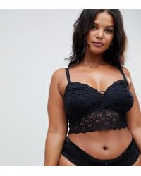 9322774c7be7f Lyst - Kimchi Blue Deep-v Open Back Lace Bralette In Black in Black