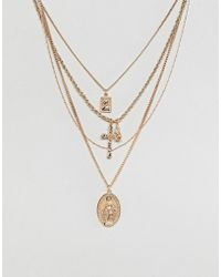 ASOS - Multirow Necklace With Vintage Style Icon And Cross Pendants In Gold - Lyst