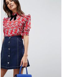Vila - Floral Blouse With Bow Detail - Lyst