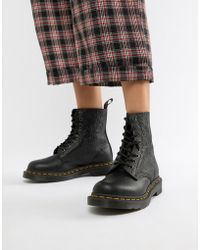 aa86d592721 Dr. Martens - 1460 Pascal Embossed Black Leather Flat Ankle Boots - Lyst