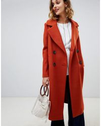 River Island - Double Breasted Tailored Coat In Tan - Lyst