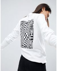 Vans - Checkerboard Back Print Sweatshirt In White - Lyst