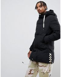 Sixth June - Puffer Jacket With Side Detail In Black - Lyst