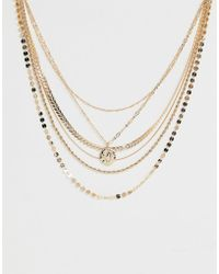 ASOS - Multirow Necklace Mixed Design Chains And Molten Coin Pendant In Gold Tone - Lyst