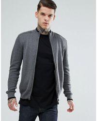 Ben Sherman - Zip Through Panel Knit Jumper - Lyst