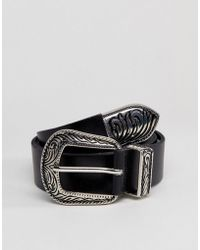 Pieces - Leather Western Belt - Lyst