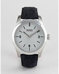HUGO - 1530027 Create Felt Strap Watch In Grey - Lyst