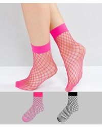 New Look - 2 Pack Fishnet Ankle Socks - Lyst