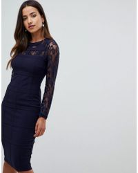 Girl In Mind - Grid Lace Long Sleeve Bodycon Dress - Lyst