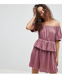 Lost Ink - Bardot Dress In Ruched Fabric With Peplum - Lyst
