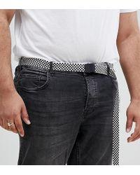 ASOS - Cintura Plus slim a quadri con estremit lunga e fibbia nero opaco - Lyst