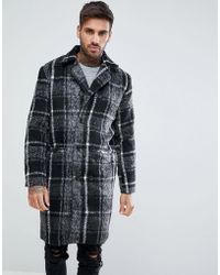 Boohoo - Longline Overcoat In Brushed Gray Check - Lyst