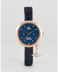 Vivienne Westwood - Vv139nvnv Navy Leather Watch With Orb Charm - Lyst