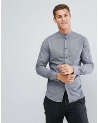 SELECTED - Slim Grandad Shirt In Grid Check - Lyst
