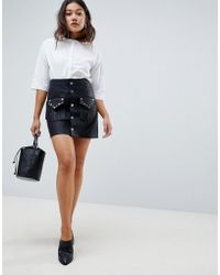 ASOS - Leather Look Mini Skirt With Studded Pocket Detail - Lyst