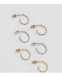 Accessorize - 3 Pack Gold Plated Hoops - Lyst