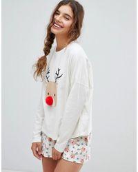 ASOS - Christmas Pom Pom Reindeer Short And Longsleeve Pyjama Set - Lyst