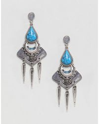 ASOS - Design Faux Turquoise Engraved Plate Earrings - Lyst