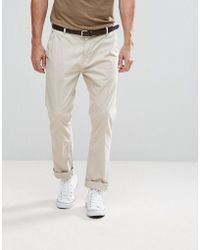 Stradivarius - Slim Chino With Belt In Beige - Lyst