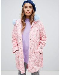 Lazy Oaf - Leopard Parka With Contrast Faux Fur Hood - Lyst