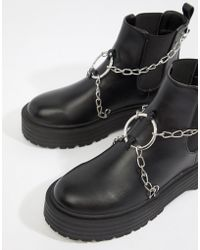 Public Desire - Locked Black Chain Detail Chunky Boots - Lyst