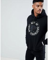 Replay - Destroyed Sport Logo Applique Hoodie In Black - Lyst