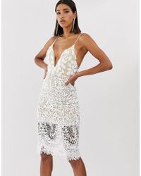 Love Triangle - Plunge Front 3d Applique Cami Midi Dress In White - Lyst