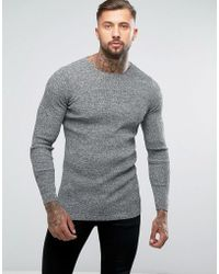ASOS - Longline Muscle Fit Ribbed Jumper - Lyst