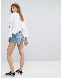 Pull&Bear - Button Up Short With Stud - Lyst